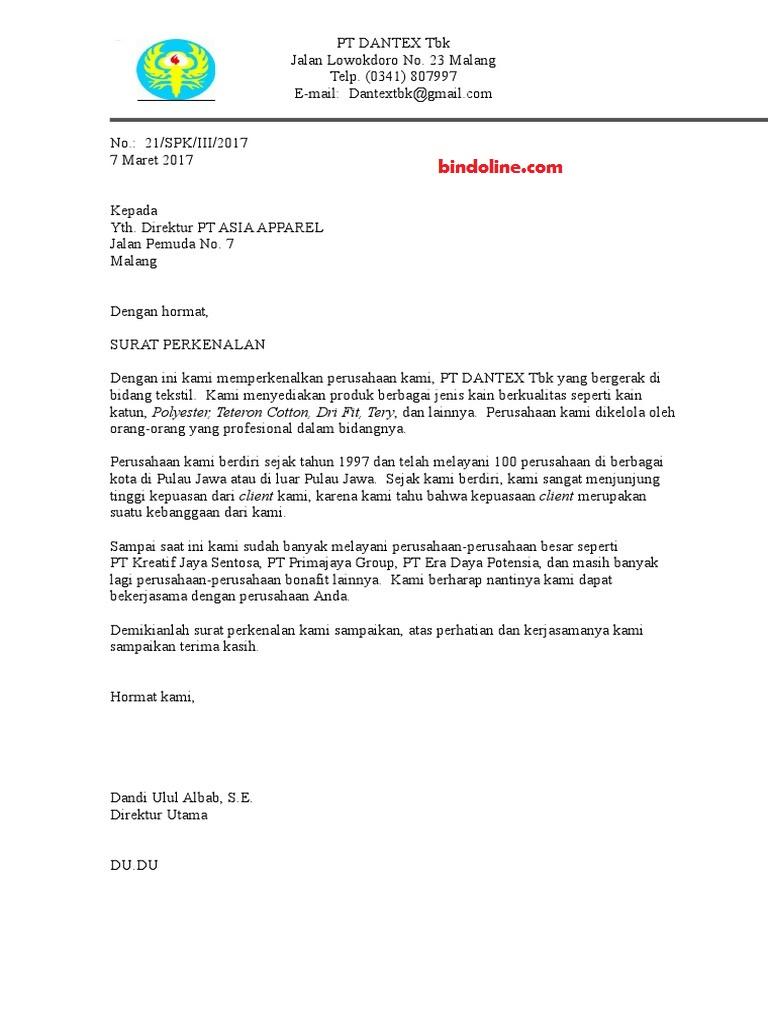 contoh surat perkenalan perusahaan