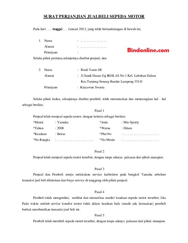 5 Contoh Surat Perjanjian Jual Beli Motor Bekas