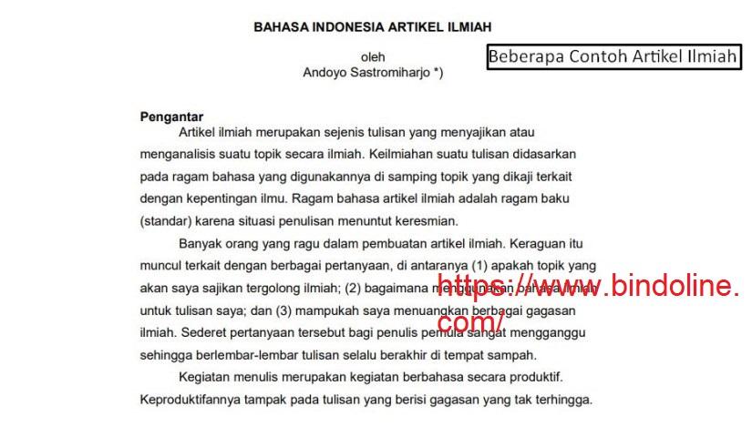 Contoh Artikel Ilmiah Indonesia