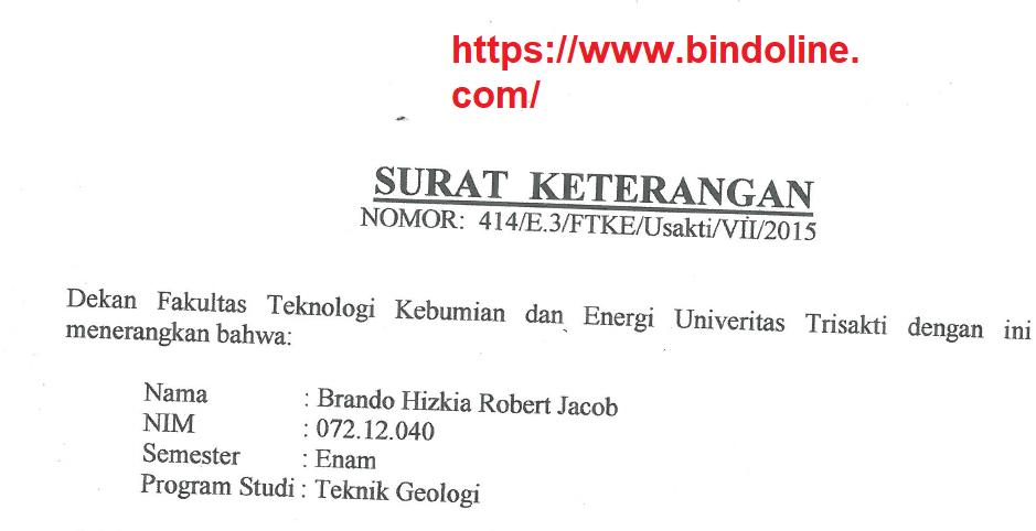 Contoh Surat Keterangan Mahasiswa Aktif