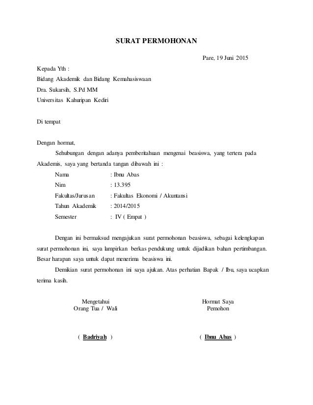 Contoh Surat Permohonan Lengkap