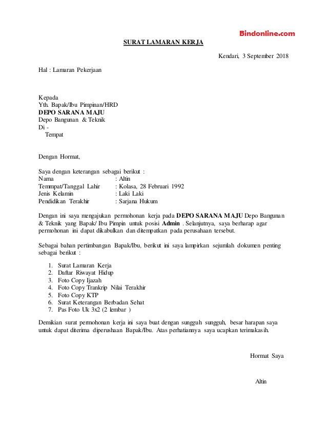 Contoh surat lamaran pekerjaan bagian admin