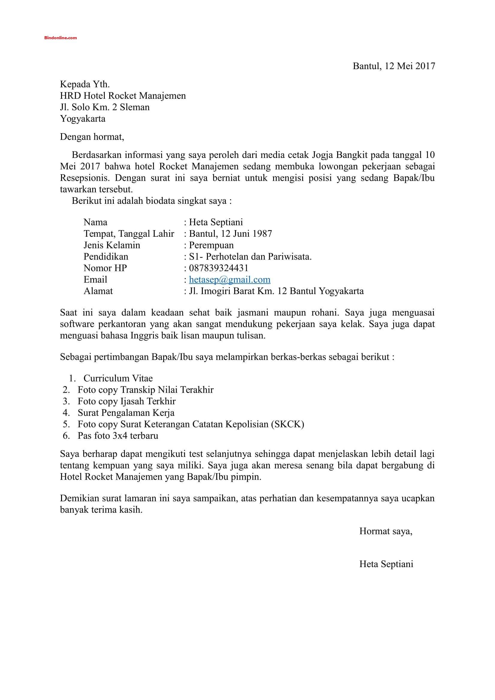 Contoh surat lamaran pekerjaan karyawan hotel