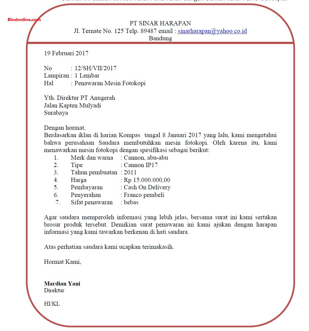 Contoh surat penawaran mesin fotokopi
