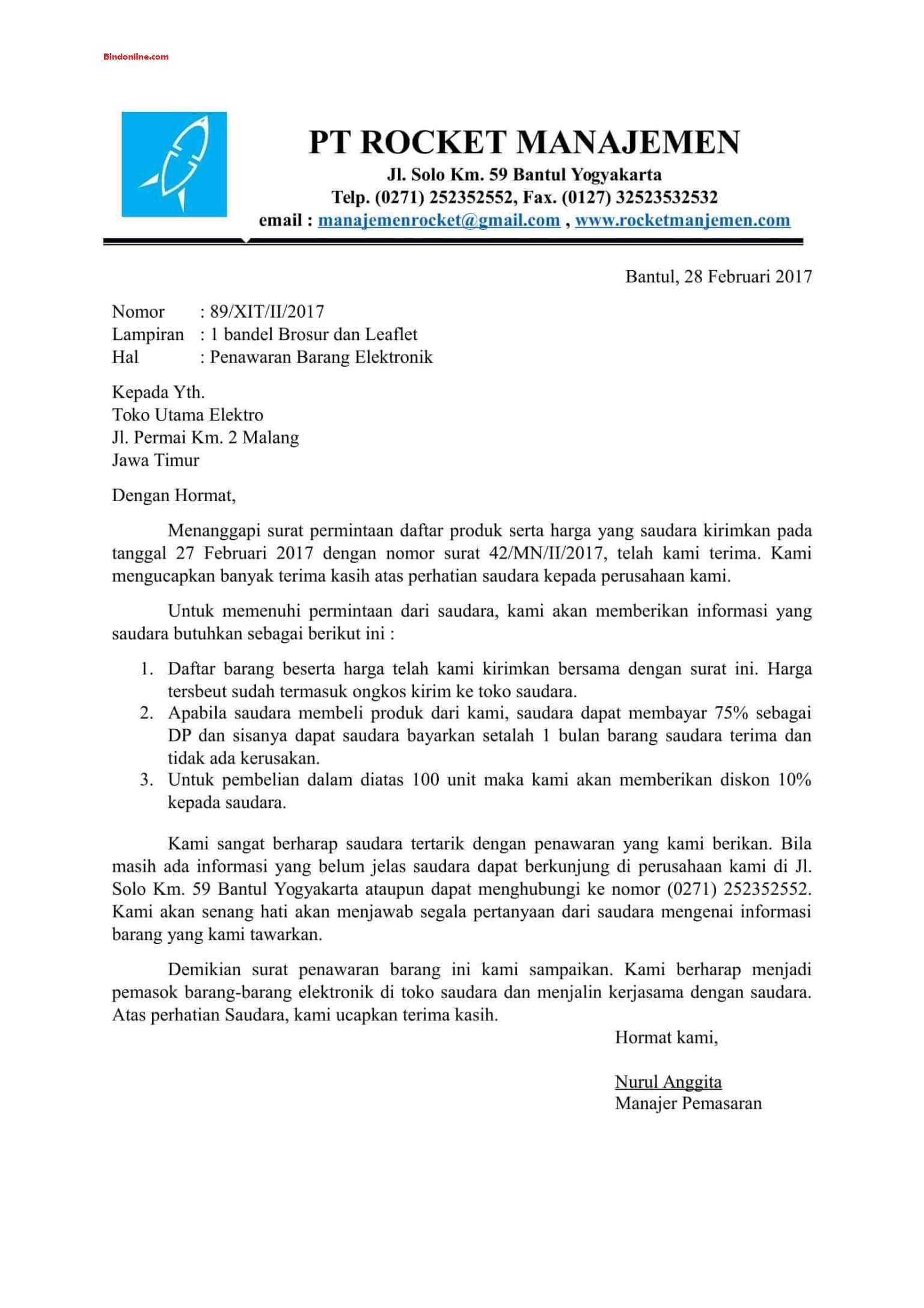 Contoh surat penawaran perusahaan