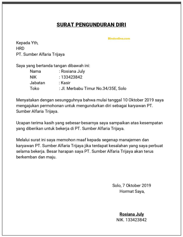 Contoh surat pengunduran diri karyawan perusahaan