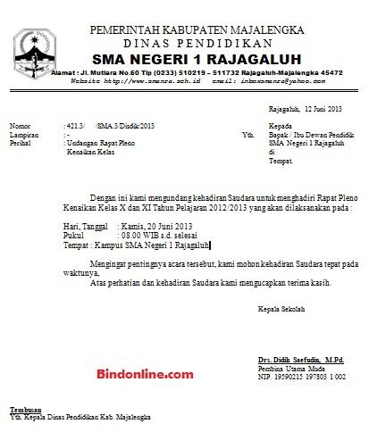 Contoh surat undangan rapat kenaikan kelas