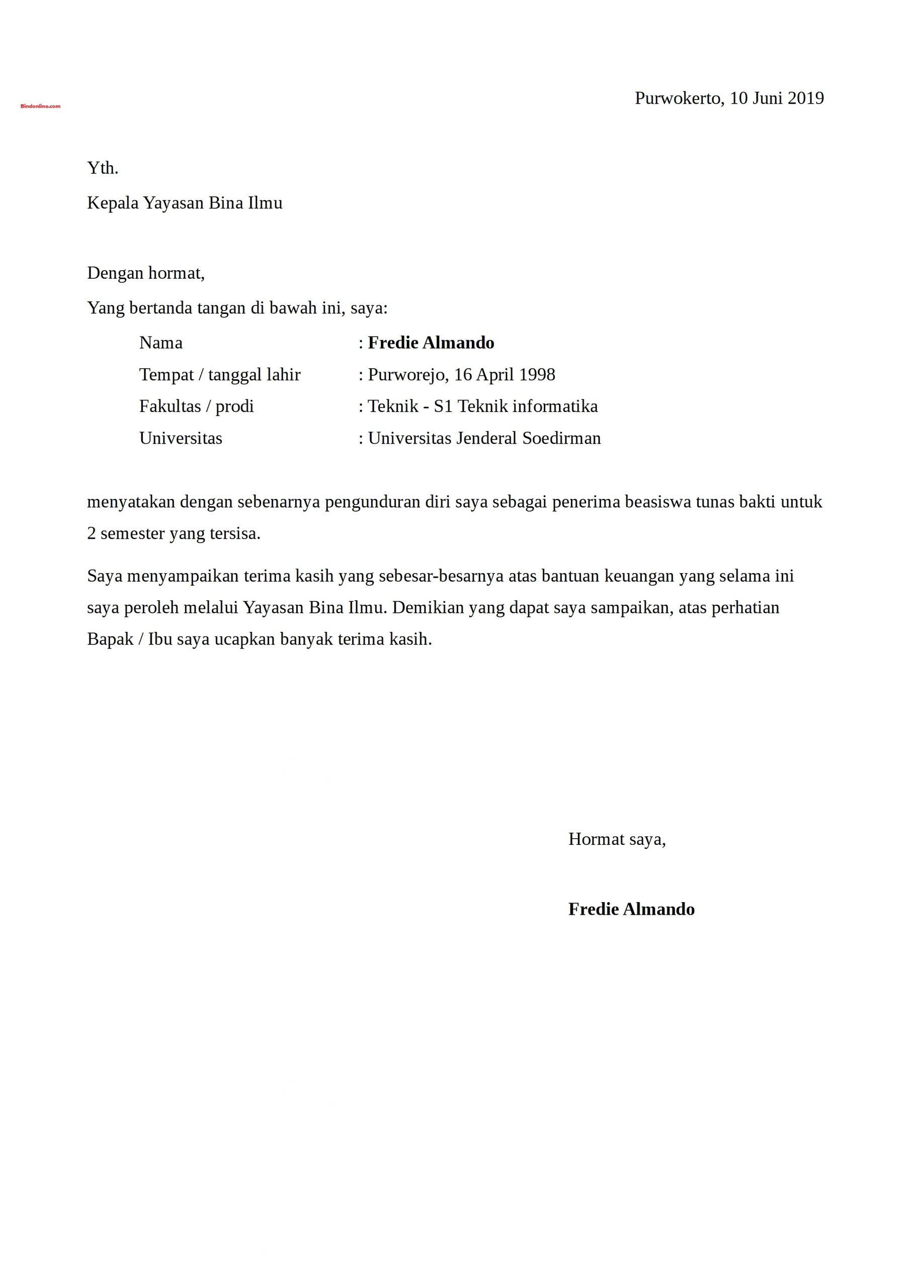 Surat pengunduran diri kerja karena melanjutkan studi