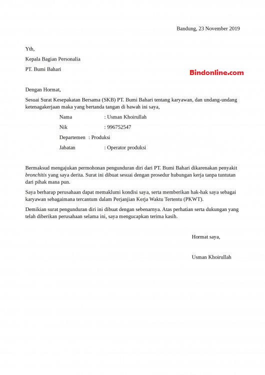 Surat pengunduran diri kerja karena sakit