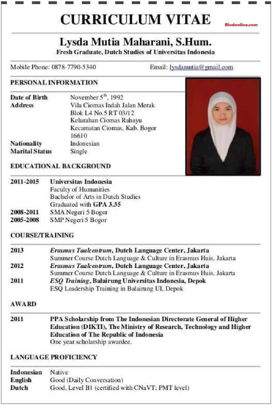 Contoh CV dalam bahasa inggris terbaik