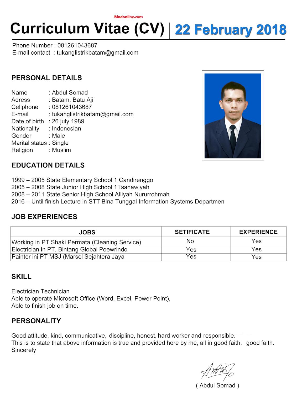 Contoh CV dalam bahasa inggris untuk kerja di bank