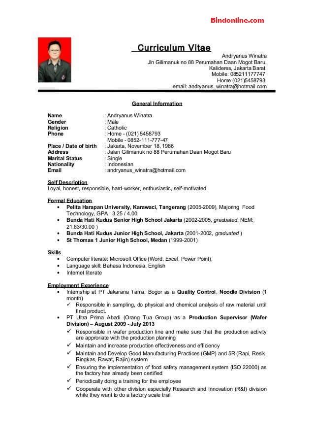 Contoh CV dalam bahasa inggris untuk melamar kerja