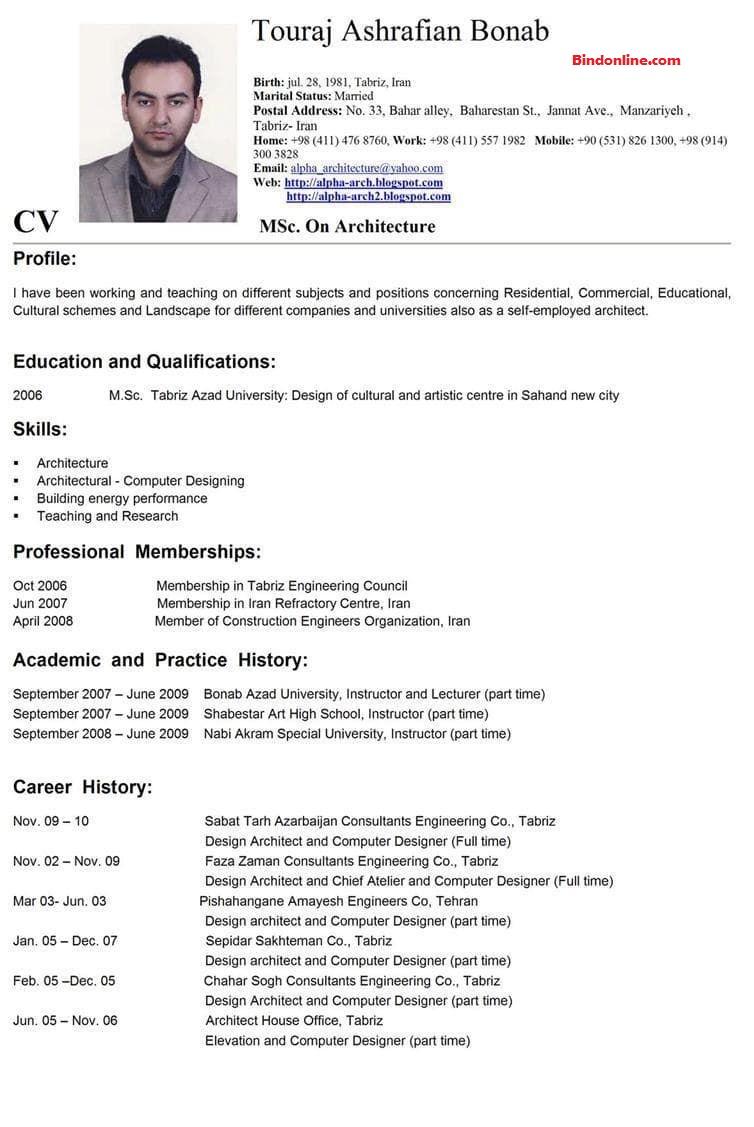 Contoh CV dalam bahasa inggris yang benar