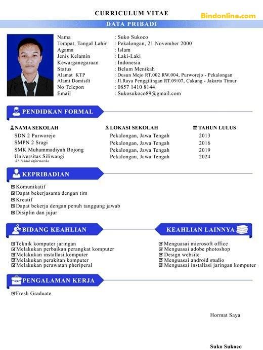 Contoh CV yang menarik bahasa Indonesia