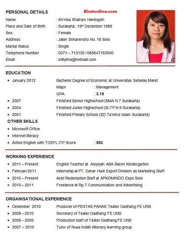 Contoh CV yang menarik dan benar