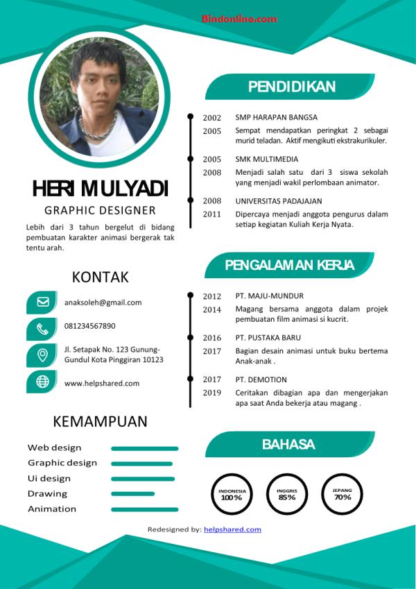 Contoh CV yang menarik serta kreatif