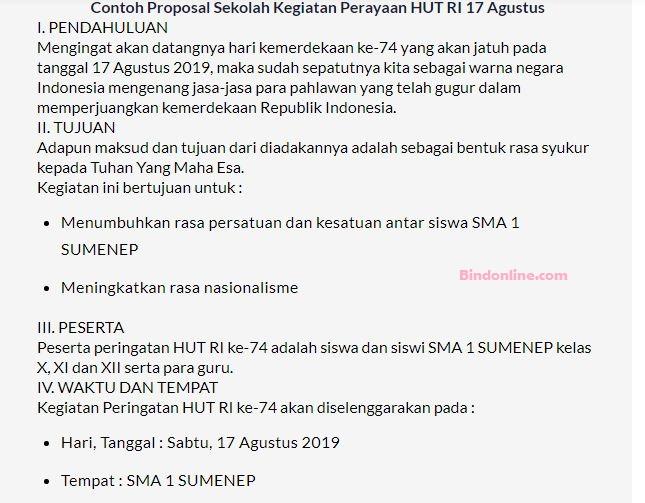 Contoh proposal kegiatan 17 Agustus