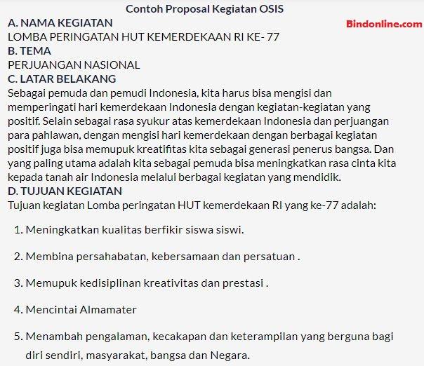 Contoh proposal kegiatan OSIS