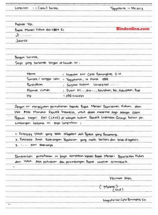 Contoh surat lamaran kerja tulis tangan CPNS